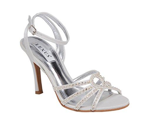 Lexus hauts talons pour chaussure de mariée avec bretelles Strass et ivoire. Blanc cassé - ivoire