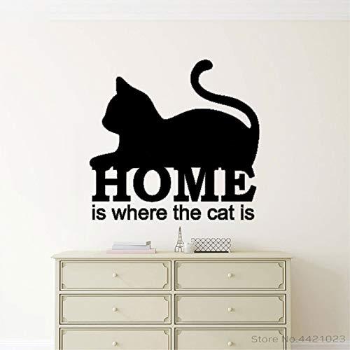 xingbuxin Wandtattoo Tierzitate Zuhause ist, wo die Katze ist Vinyl Wandaufkleber Motivationskunst Wandbild Haus Dekor Modern 1 60x57cm
