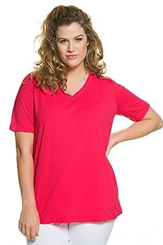 Ulla Popken Women's Plus Size Embroidery Accent V-Neckline Tee Hibiscus Pink 24/26 710433 53-50+