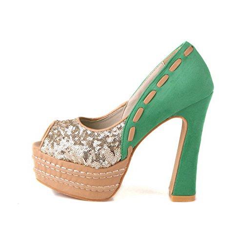 VogueZone009 Damen Gemischte Farbe Ziehen Auf Fischkopf Schuhe Sandalen Mit Hohem Absatz Grün