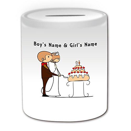 (Personalisiertes Geschenk–Schneiden Hochzeit Kuchen Spardose (Bräutigam & Braut Design Thema, weiß)–alle Nachricht/Name auf Ihre einzigartige–Paar)