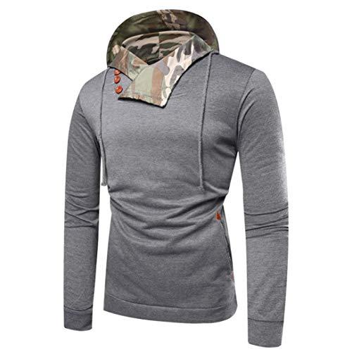 Hoodie Sweatshirt -Männer Langarm Camouflage Kapuzen Top Tee Outwear Bluse-Modern-Slim Fit Cross-Over-Kragen Basic Sweater -Pulli T-Shirt- Oberteile Bluse- Freizeit ()