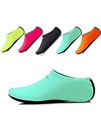 JIASUQI Niños, Mujeres y Hombres Clásicos Descalzos Deportes Acuáticos Zapatos de Piel Calcetines Aqua para la Playa de Natación Surf Yoga Ejercicio