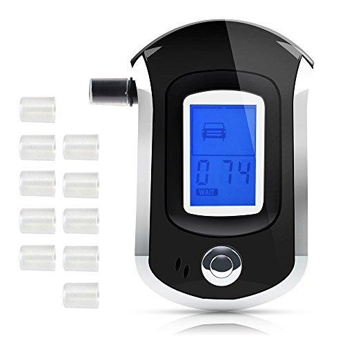 Atem Alkohol Tester mit 10Mundstücke, husdow Profi Alkoholtester mit Halbleiter Sensor und LCD-Display für Fahrer und Stillen Mütter