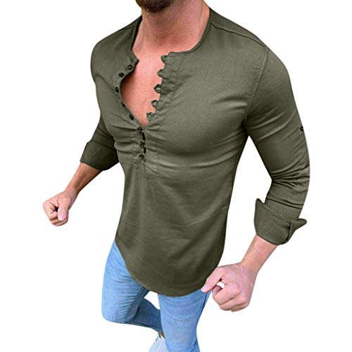 DNOQN Sport Poloshirt Herren Herren Baggy Baumwolle Leinen Solide Langarm Retro T Shirts Tops Bluse L