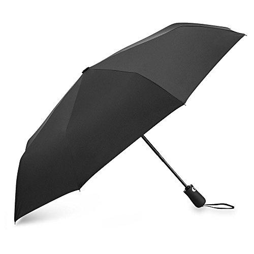 Regenschirm Taschenschirm Automatik, Aodoor Winddicht Kompakt Leicht Stabiler Schirm Voll-automatischer Transportabel Reiseschirm für Frauen und Männer, Schwarz