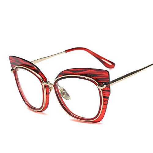 UICICI Damenmode Cat Eye Metallstreifen Brillengestell (Farbe : Red)
