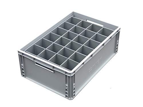 Eurokiste mit internen Trennfächern - Glaswaren-Aufbewahrungskiste, Glasjacks, 24 Zellen, max. Breite 81 mm, max. Höhe 250 mm, Box GJ-250-24-E-FBA
