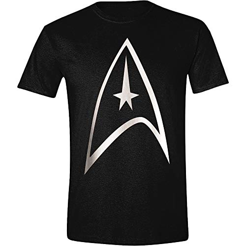 Black Star Trek Insignia USS Enterprise offiziell Männer T-Shirt Herren (Medium) (39 Insignia Tv)