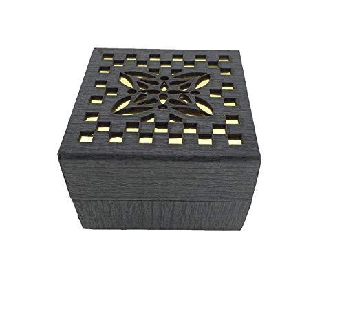 Ruvee LED Light Hard Wood Velvet Finish Golden Box for Rings(for Proposal, Engagement