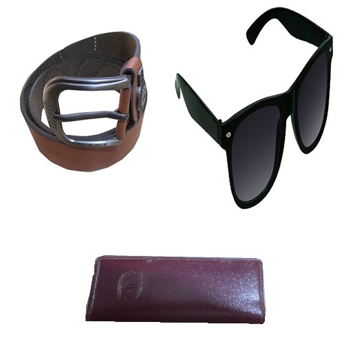 Aam Shopping Size 34 to 40 Brown Genuine Spanish Leather Formal and Causal Belt for Men and Card Holder Goggle Combo