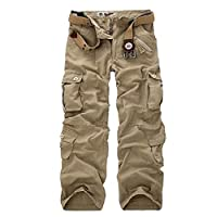Coolred Men's Pure Colour Outdoor Relaxed Cotton Multi Pockets Cargo Pant Khaki 37