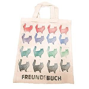 6tlg Überraschungsset mit Geschenktasche Stoffbeutel Katze Mädchen Damen Weihnachten Täschchen gestempelt handgemacht handmade
