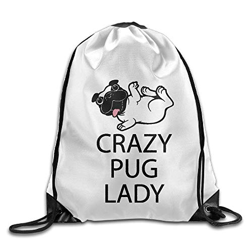 ghfghgfghnf Crazy Pug Lady Gift for Dog Beam Mouth Backpack Travel Bag Customize Practical (Crazy Dog Lady-spielzeug)