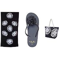 Spiaggia di Ladies Womens ragazze 3 pezzi impostare - Pattern floreale - spiaggia grande borsa + telo mare + sandali / infradito - Estate Telo