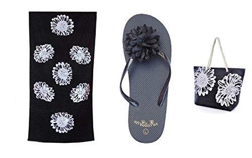Senhoras Bolsa De Praia + Toalha De Praia + Toe Definir Trenner Padrão Floral Airee Fairee Preto