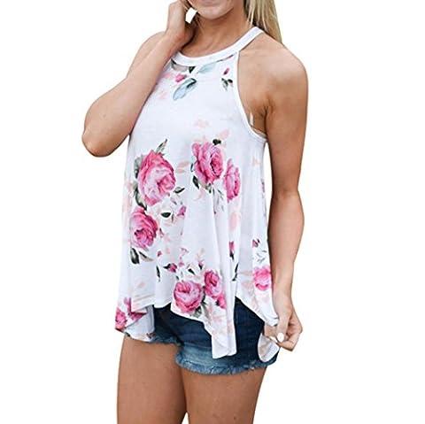 Sommer Bluse, lmmvp Frauen ärmellos Blume gedruckt Tank Tops Lässiges T-Shirt