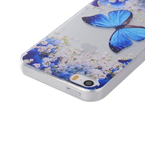 JAWSEU Coque Etui pour iPhone 6/6S 4.7,iPhone 6 Coque en Silicone Transparent,iPhone 6S Souple Coque Ultra Slim Clair Etui Housse,iPhone 6S TPU Gel Protective Cover,Ultra Mince Flexible Soft Clear Cas Bleu Papillon