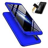 Samsung Galaxy A7 2018 Hülle + Panzerglas, LaiXin 360 Grad Handyhülle Ultra Dünn PC Plastik Anti-Kratzen Schutzhülle Schutz Case mit Displayschutzfolie für Samsung Galaxy A7 2018 - Blau