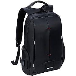 Laptop Mochila, mochilas para ordenador portátiles ajusta hasta 15,6 pulgadas, mochilas impermeables de Escuela de Negocios, negro