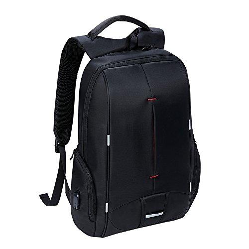 KALIDI 15 zoll Laptop Rucksack Anti Diebstahl mit Fächern für bis zu 15 Zoll Laptop/Notebook mit USB-Ladeanschluss für Arbeit Campus Studenten Reise Business (Schwarz) (15-zoll-laptop-rucksack)