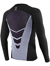 AMZSPORT Camicia a Compressione da UomoT-Shirt Sportiva Fitness a Manica Lunga Raffreddare Strato di Base a Secco - Nero XL