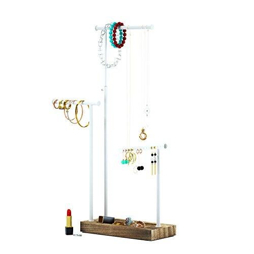 Schmuckstnder-Schmuckhalter-Kettenhalter-3-Stbe-drehbar-Max-Hhe-51cm-Holz-Schmuckbaum-Kettenstnder-Uhrenstnder-Schmuckaufbewahrung-fr-Ketten-Ohrringen-Ringen-Uhren-und-Armbndern-Verkohlungsholz-Schmuc
