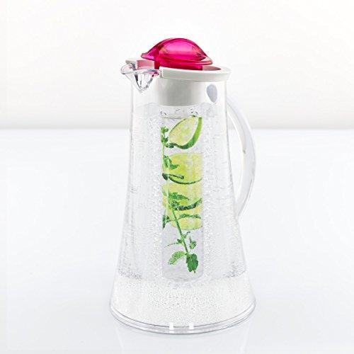 bremermann® Kühlkaraffe, Wasserkaraffe 2,4 Liter mit Kühl- und Aromastab (pink)
