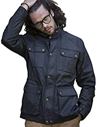 VEDONEIRE Mens Dry Wax Jacket (3050 BLACK) dry waxed motorbike style
