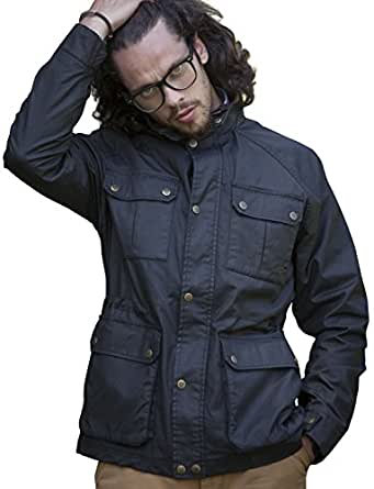 VEDONEIRE Mens Wax Jacket (3050) BLACK with 4 pockets and brushed check lining waxed (Small (fits Chest up to 37 inches))