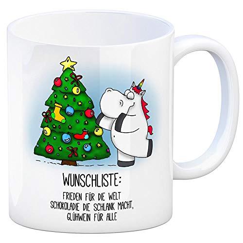 trendaffe - Honeycorns Kaffeebecher mit Einhorn Wunschliste und Weihnachtsbaum Motiv