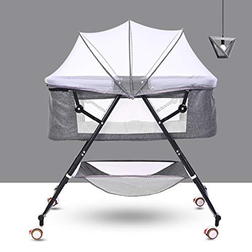 Sisyria Ingenuity Pliant bébé moïses, Rocking en Alliage d'aluminium Bassinet Mobile Portable bébé Chaise Longue Nuit Lavable Sleeper,Gris,BlackSupport