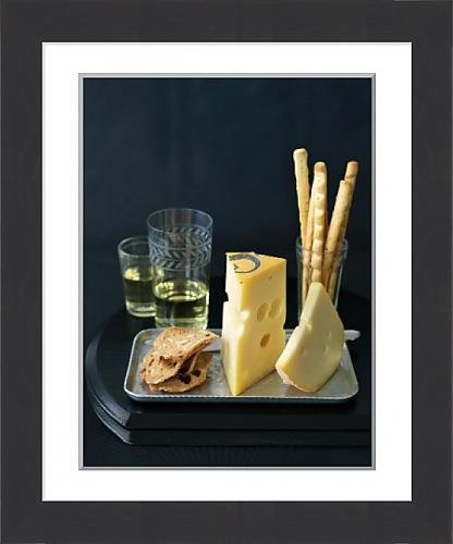 Framed Print of Fol Epi and Jalsberg Cheese with Crackers, Bread Sticks and  White Wine 01cb431dbe