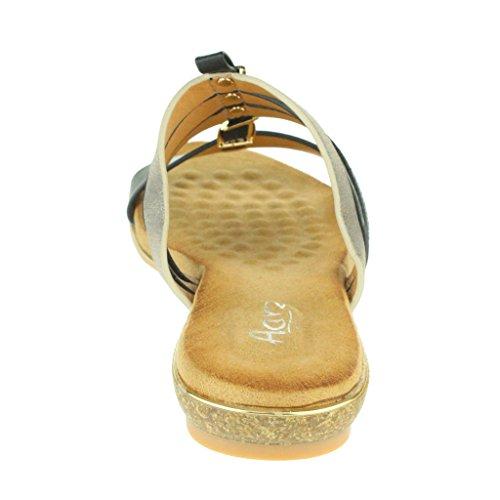 Frau Damen T-Spange Atemberaubend Strand Open Toe Offener Zeh Sommer Beiläufige Komfort Flache Schieber Sandale Schuhe Größe Schwarz