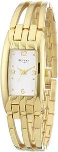 Regent 12210807 - Reloj analógico de cuarzo para mujer con correa de acero inoxidable, color dorado de Regent