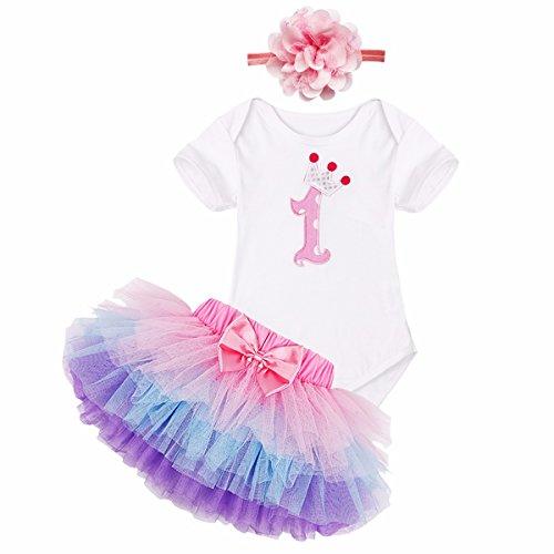 YiZYiF Baby Mädchen Kleidung Set 3 Stück Romper + Rock Tütü Pettiskirt + Stirnband 1. Geburtstag Geschenk Verkleidung (6-9 Monate, 1. Geburtstag mit Bunt Rock) Gr. L
