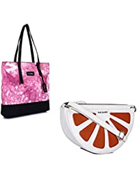 THE MAKER Combo Of Pink And Black Synthetic Leather Women Electric Jhola With White And Orange Synthetic Leather...