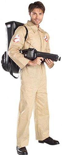 Fancy Me Herren Erwachsene Halloween Ghostbuster mit Aufblasbar Rucksack 1980s Jahre Kostüm Kleid Outfit - Beige, STD
