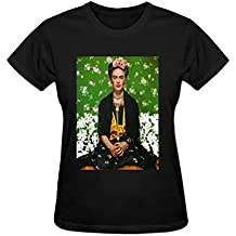 Golden dosa Womens Short Sleeve Frida Kahlo Cotton O Neck T Shirt