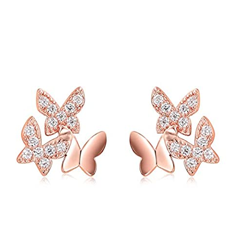 Nouvelle femme Lovely Diamond 925 Sterling Silver Jewelry Fashion Butterfly Earrings pour femmes et filles
