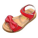 YWLINK Sandalias NiñAs,Zapatillas Los Deportes Bowknot Sandalias Antideslizantes Princesa Zapatos Ocasionales Zapatos De Playa Zapatos Romanos(Rojo,30 EU)