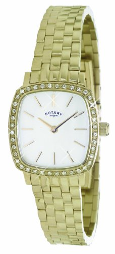 Rotary Women's Quartz Watch with Mother of Pearl Dial Analogue Display and Gold Stainless Steel Bracelet LB02405/40