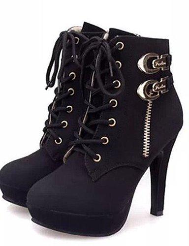 Schn眉rschuh Schwarz ShangYi Fleece Schuhe Fashion Stiefel Mode Schuhe Winter Damen Andere Casual Stilettabsatz Frauen Schwarz SRxPHSq