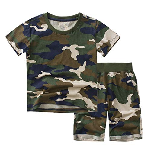 CuteRose Toddlers Children Boys Summer 2-Piece Cotton Shirt and Shorts Army Green 140