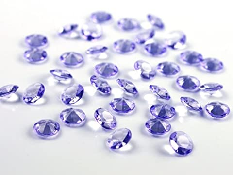 SiDeSo® Dekosteine 1000 Stück 12mm 1,2cm Diamanten Acryl Tischdeko Hochzeit (lila)