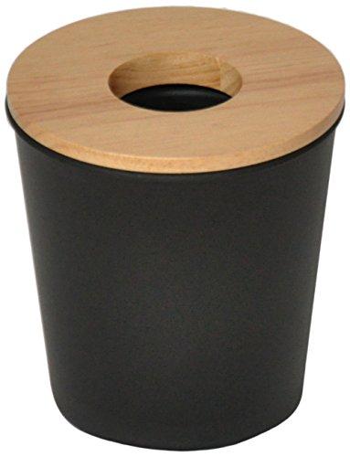 Opportunity 26b1512050170Ebonite Mini Abfalleimer Kunststoff/Holz Schwarz 13x 13x 14cm (Holz-küche-mülleimer)