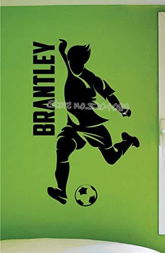 sanzangtang Personalisierte Junge Fußball Wandtattoos Fußball Spieler Sport Dribbeln Kick Ball Benutzerdefinierten Namen Fußball Junge Schlafzimmer Wandbild 50.4 cm x 80.4 cm