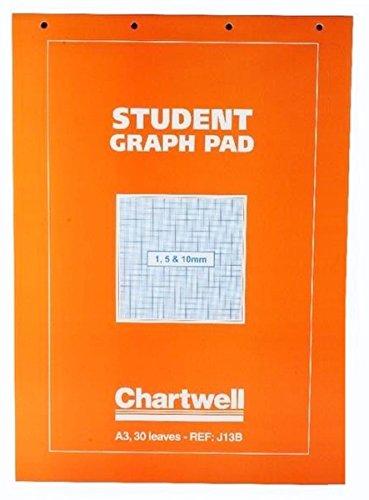 A4 Chartwell Studenten Grafikblock, Notizbücher (isometrisch, Quadrille, Grafik, Raster, Quadrat) A3 - 1, 5 & 10mm Grid