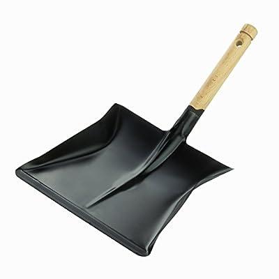 DEMA Kehrschaufel schwarz mit Holzgriff und Loch