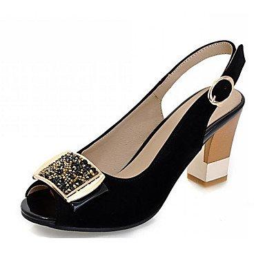 LvYuan Da donna-Sandali-Ufficio e lavoro Formale Casual-Club Shoes-Quadrato-Felpato-Nero Rosso Red